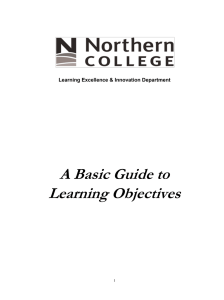 A Basic Guide to Learning Objectives