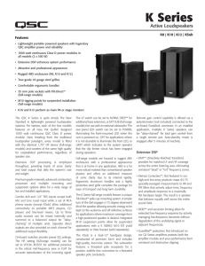 K Series Active Loudspeakers Specifications