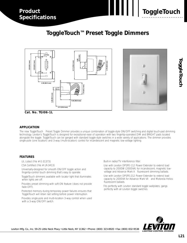 Leviton TGI10-1LI Ivory Single Pole and 3-Way ToggleTouch Preset Digital 1000W Incandescent Dimmer