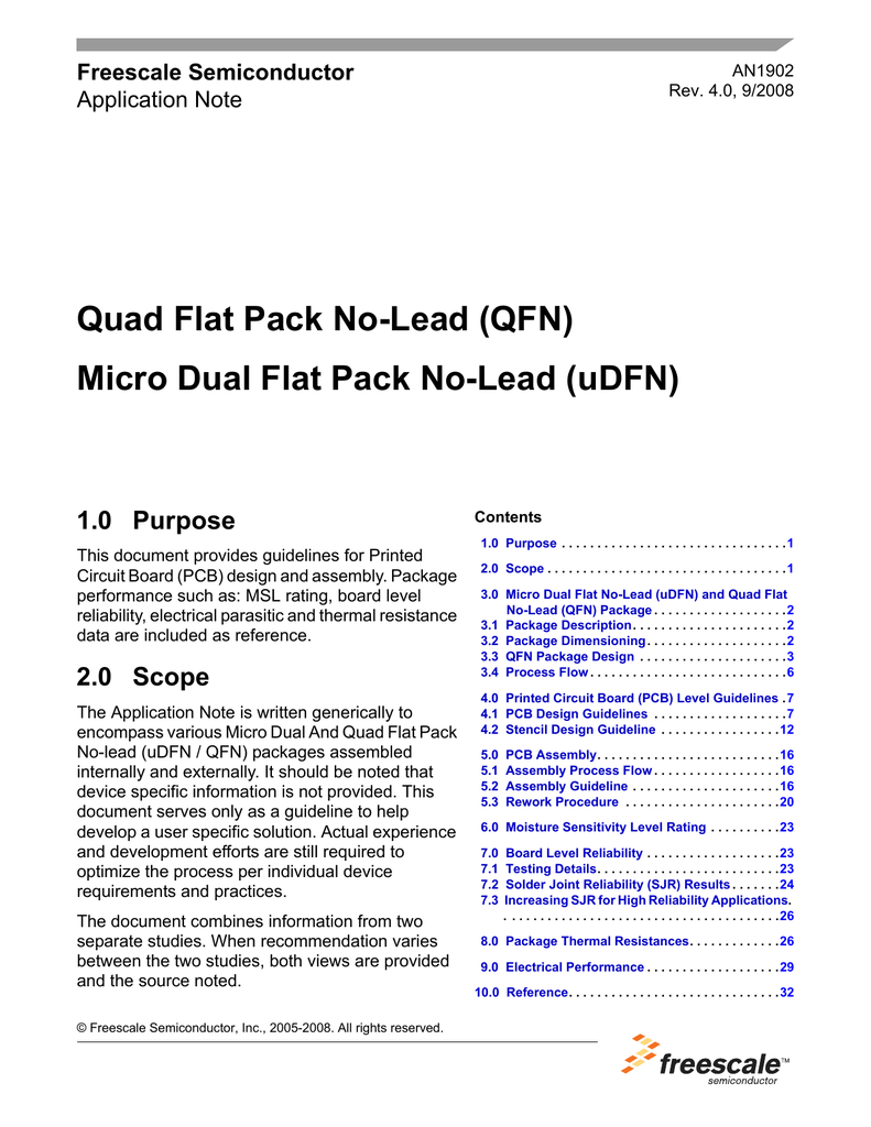 AN1902, Quad Flat Pack No-Lead (QFN)