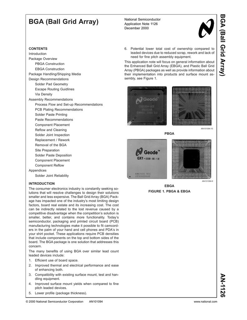 Application Note 1126 BGA (Ball Grid Array)