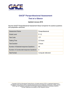 GACE Paraprofessional Assessment Test at a Glance (TAAG)