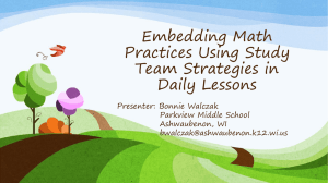 Embedding Mathematical Practices Using Study Team Strategies in