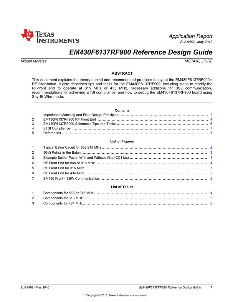 EM430F6137RF900 Reference Design Guide