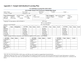 Appendix C: Sample Individualized Learning Plan