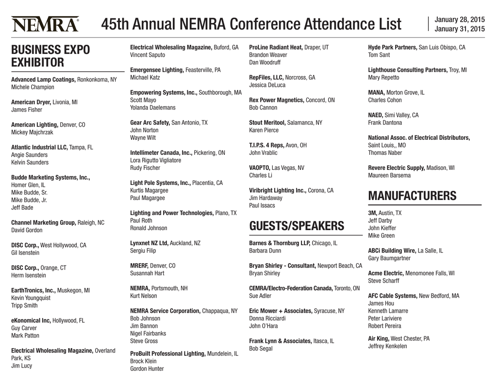45th Annual NEMRA Conference Attendance List
