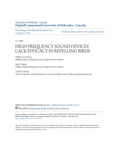 high frequency sound devices lack efficacy in repelling birds