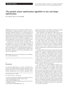 The particle swarm optimization algorithm in size and shape