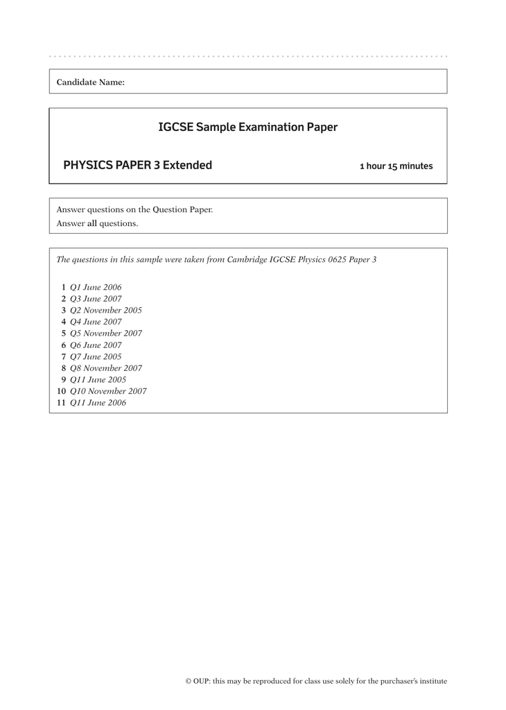 IGCSE Sample Examination Paper PHYSICS PAPER 3 Extended
