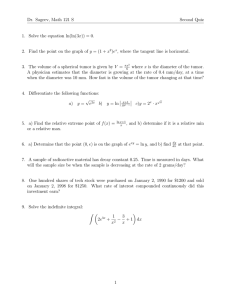 Dr. Sageev, Math 121 S Second Quiz Solve the equation ln(ln(3x