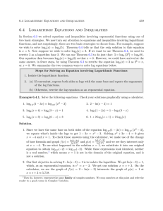 6.4 Logarithmic Equations and Inequalities