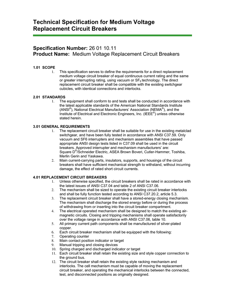 Technical Specification For Medium Voltage Replacement Circuit Replacing Electrical Breakers