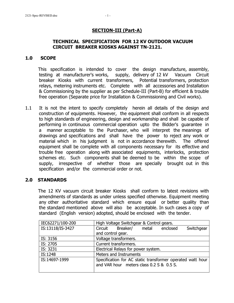 Section Iii Part A Technical Specification Three Electrical Installation