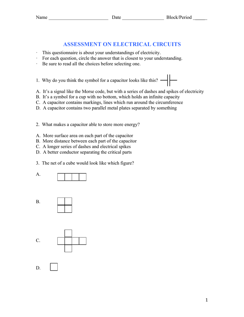 Assessment On Electrical Circuits Circuit Capacitor 2