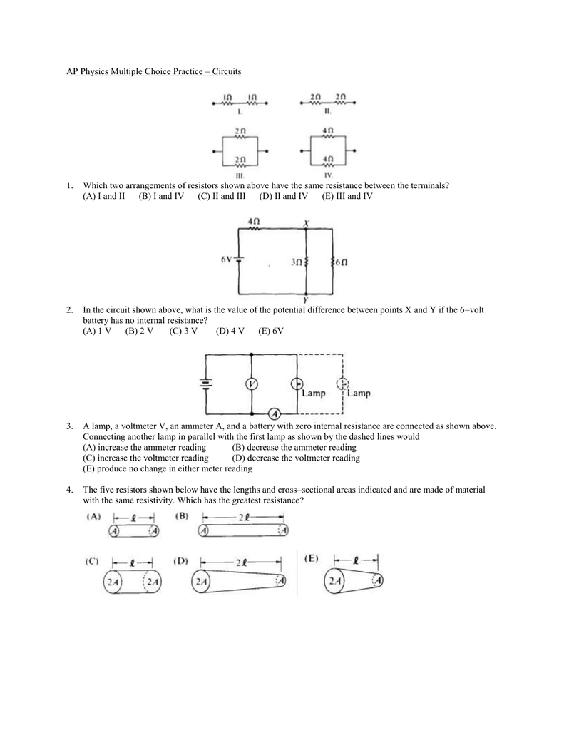 Circuits Mg Practice Questions Circuit Diagram Resistor