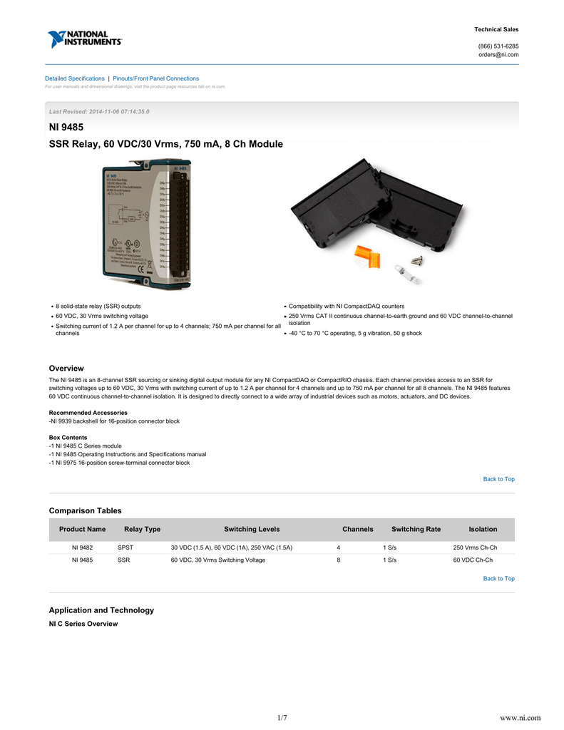 NI 9485 - Data Sheet - National Instruments