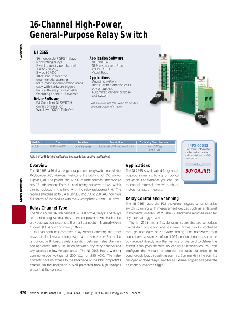 Pxi 2565 Using Single Pole Double Throw Spdt Switches National Instruments