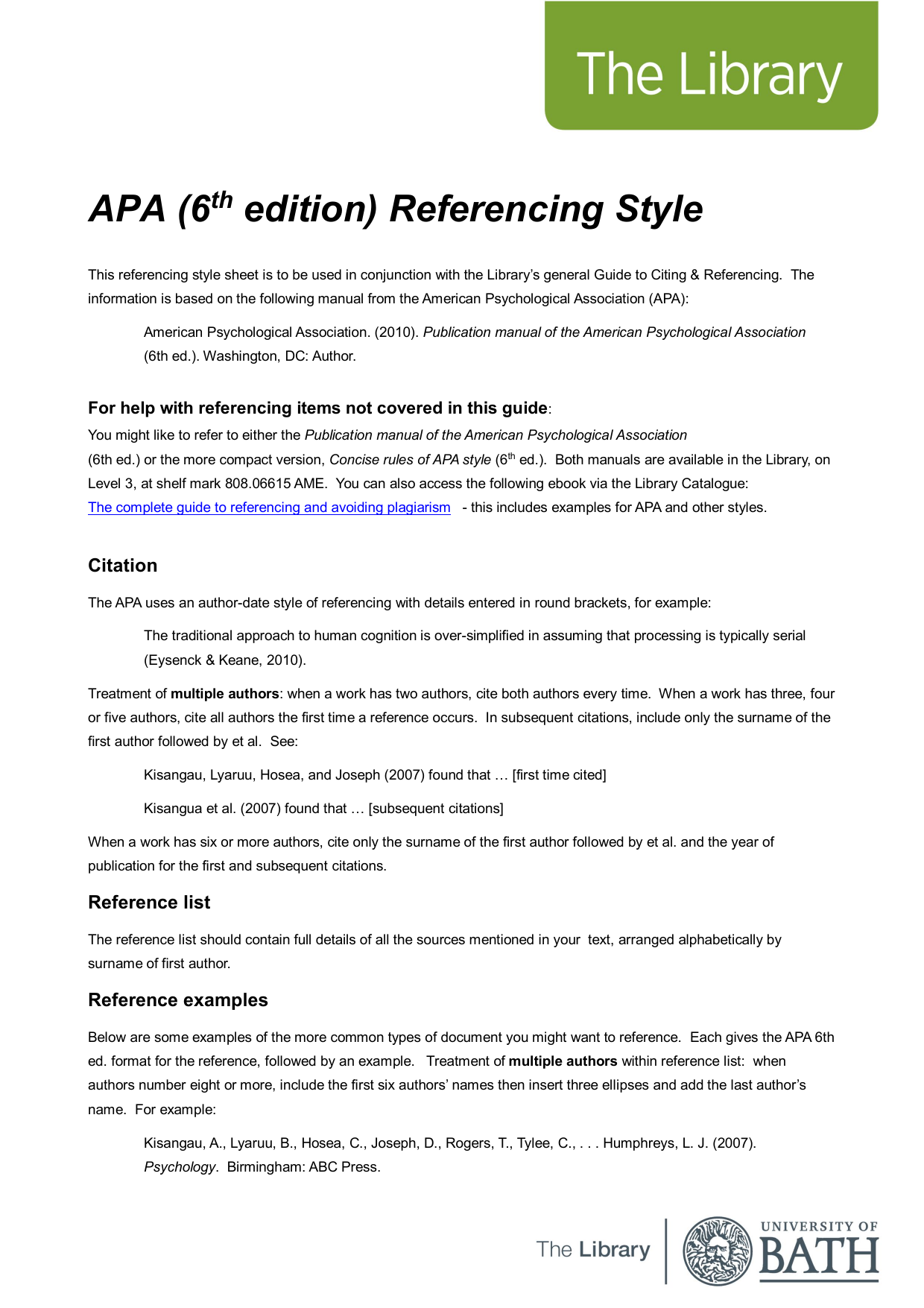 Sample essay apa 6th edition