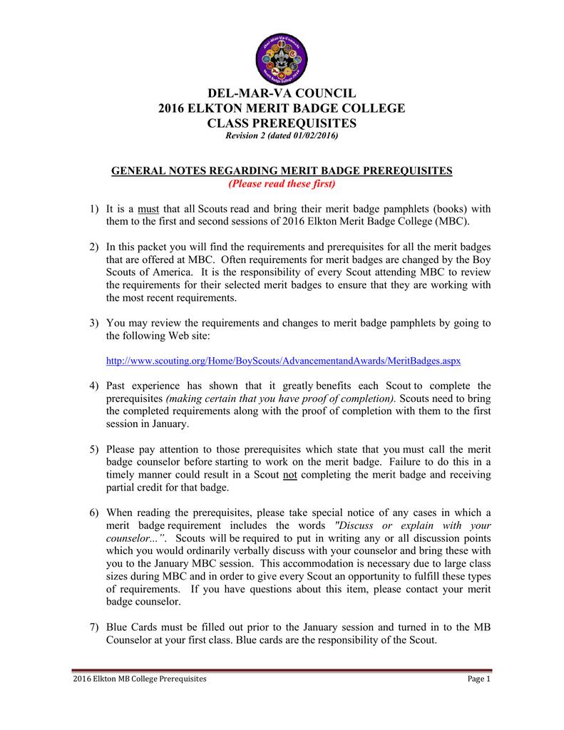 del mar va council 2016 elkton merit badge college class