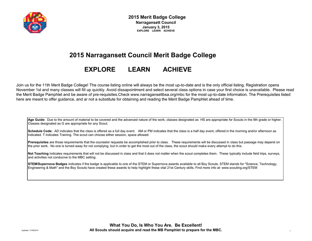 2015 Narragansett Council Merit Badge College EXPLORE LEARN – Personal Management Merit Badge Worksheet Answers