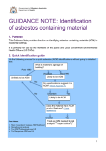 Guidance Note: Identification of Asbestos Containing