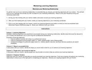 Mentoring Learning Objectives