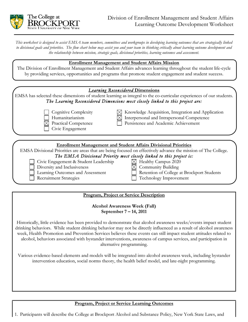 EMSA Learning Outcomes Worksheet (Alcohol Awareness Week)