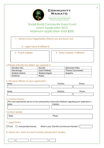 Tindall Rural Community Event Fund Grant Application 2015