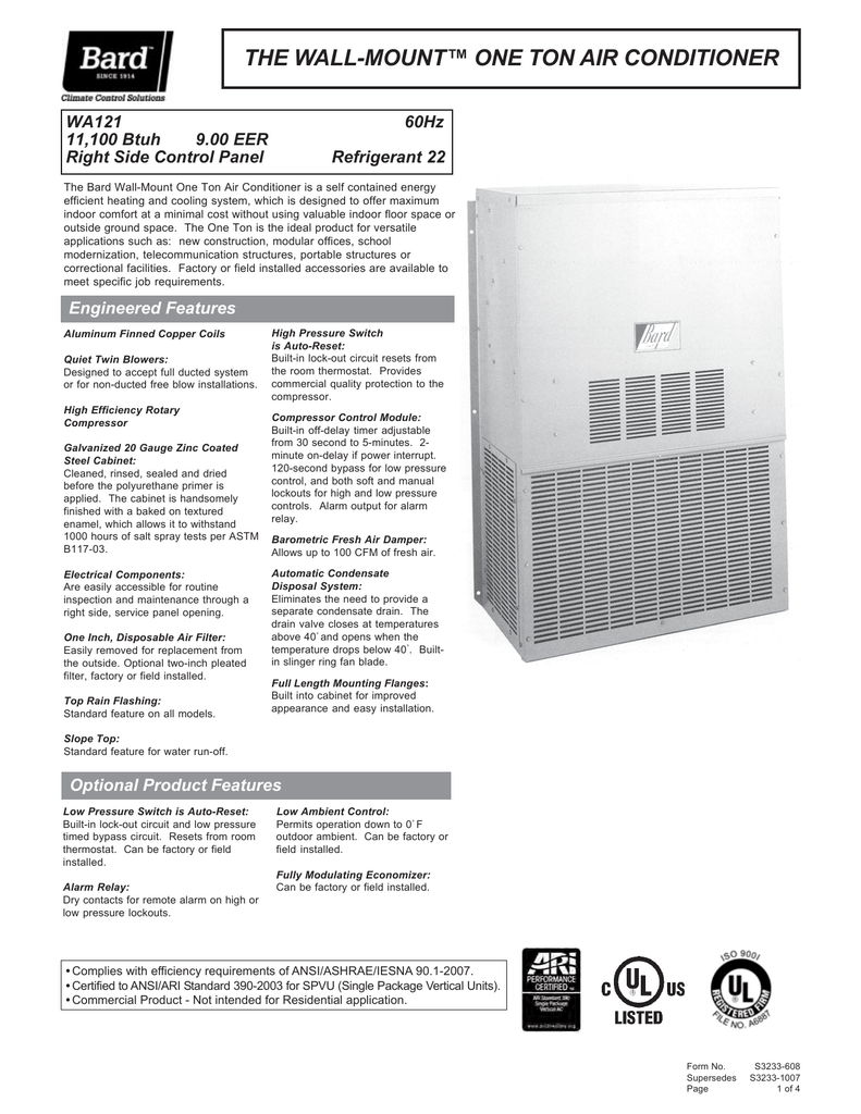the wall-mount™ one ton air conditioner on