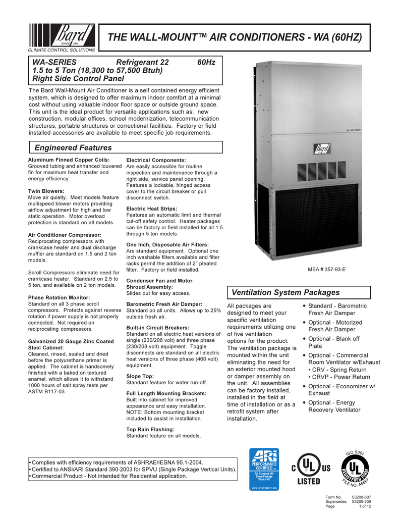 the wall-mount™ air conditioners - wa (60hz) on