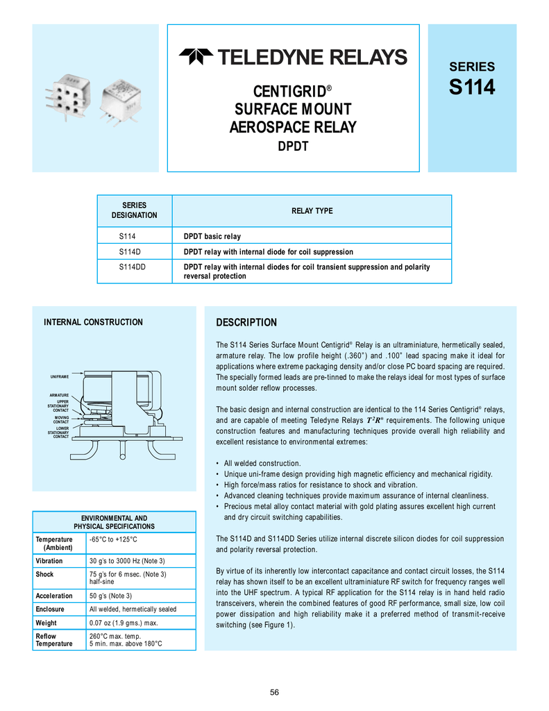S Series - Spdt relay diode