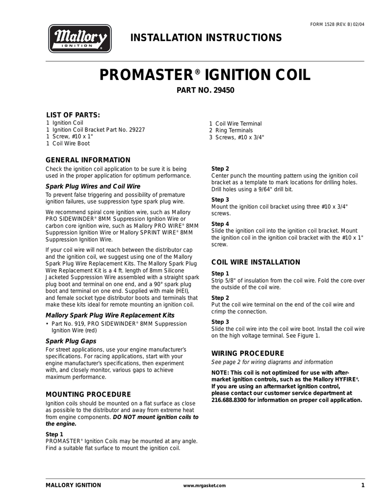 mallory promaster coil wiring diagram mallory mallory 29450 ignition coil installation instructions on mallory promaster coil wiring diagram