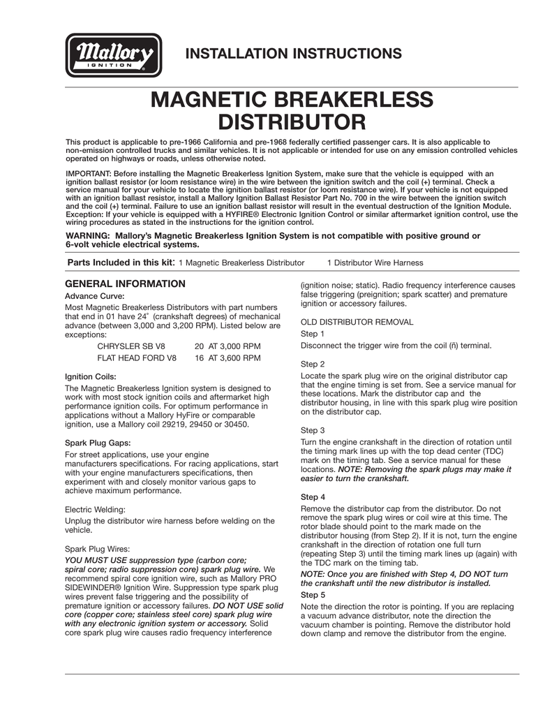 Mallory Magnetic Breakerless Distributor Wiring Diagram Ford Schematic Malloy Ignition Systems Installation Instructions Firing Order