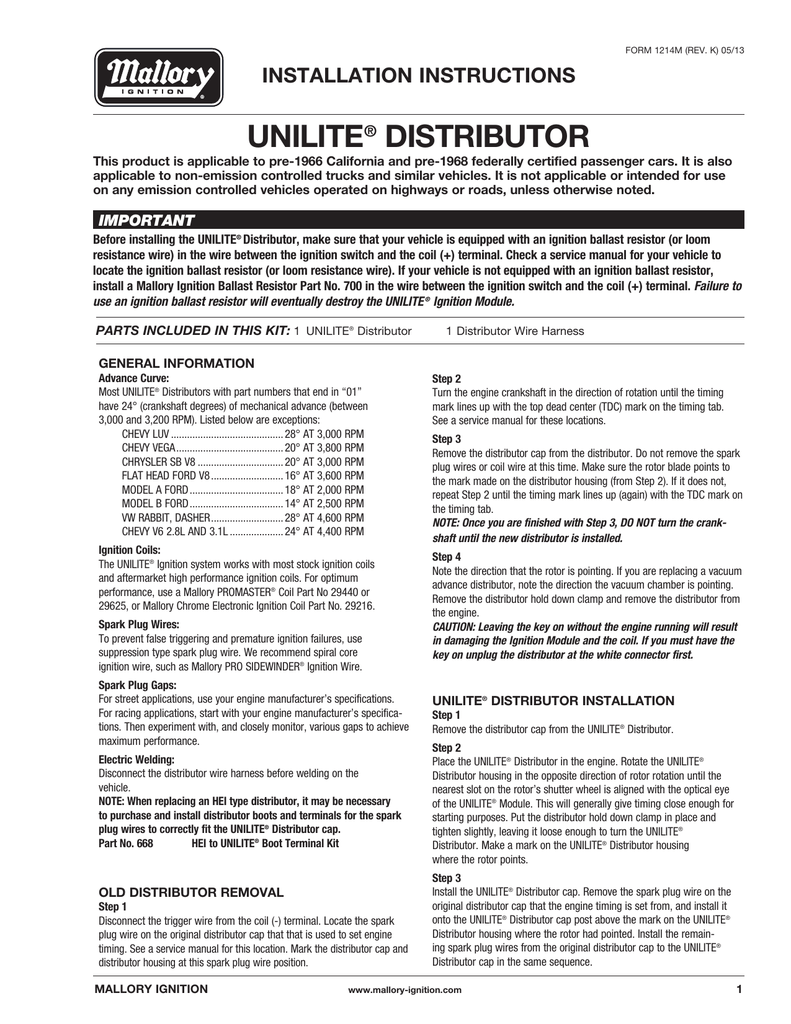Mallory Unilite Distributor Installation Instructions on 4 wire ignition switch diagram, gm hei ignition wiring diagram, mallory comp 9000 distributor diagram, msd 6al box wiring diagram, hei distributor diagram, electronic ignition diagram, hei module wiring diagram, msd ignition wiring diagram, unilite distributor parts diagram, ford ignition wiring diagram, interior wiring diagram, mallory ignition wiring diagram,