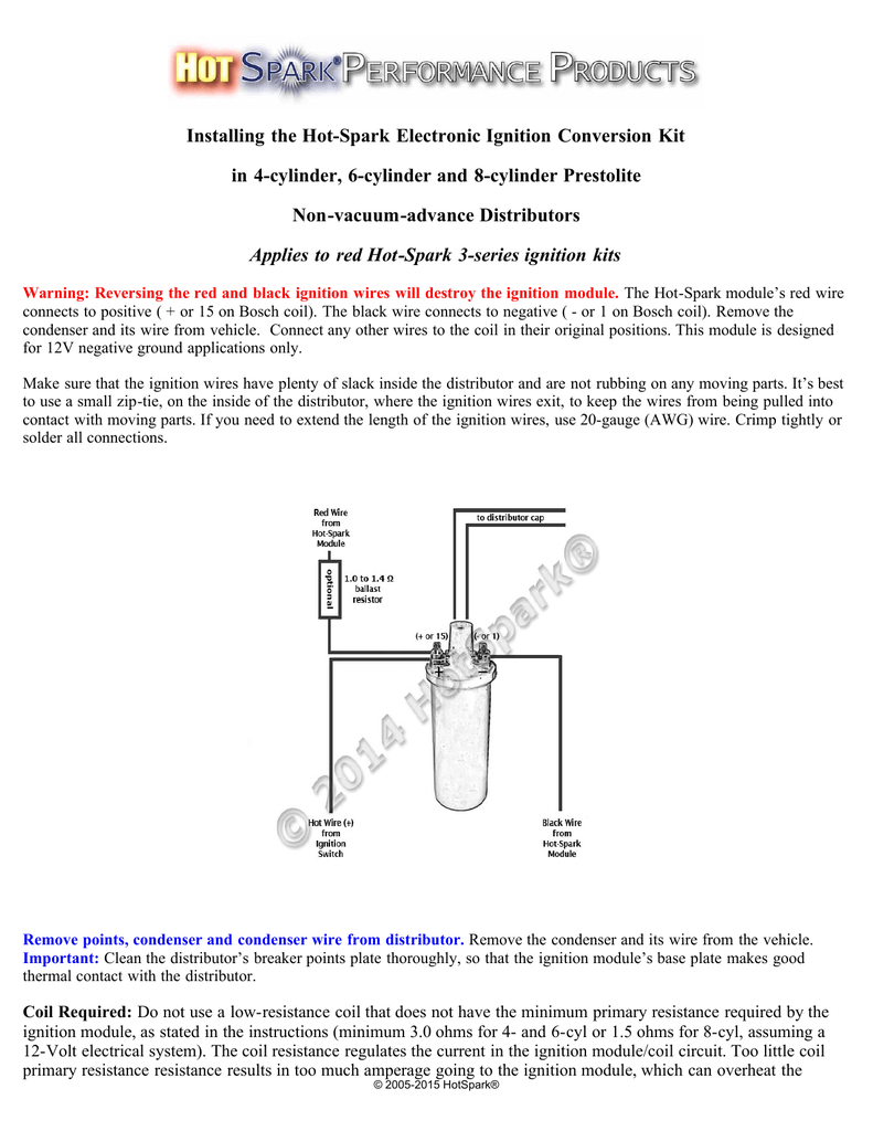 installing the hot spark electronic ignition hot rh studylib net