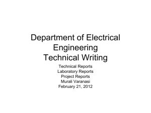 Department of Electrical Engineering Technical Writing