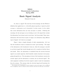 Basic Signal Analysis