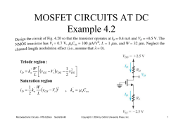 MOSFET CIRCUITS AT DC Example 4.2
