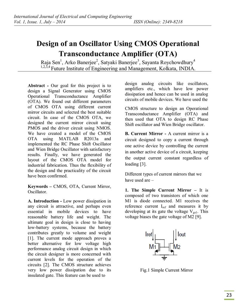 Design of an Oscillator Using CMOS Transconductance Amplifier