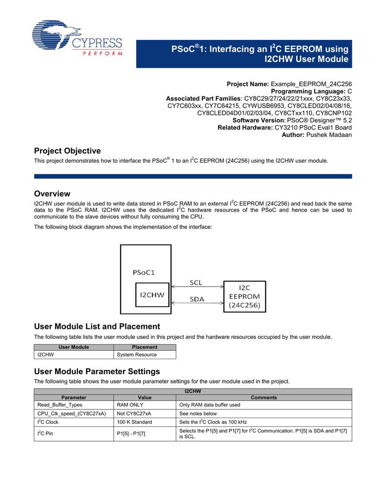 Interfacing an I2C EEPROM using I2CHW User Module