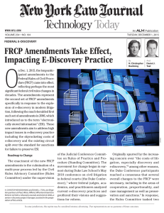FRCP Amendments Take Effect, Impacting E