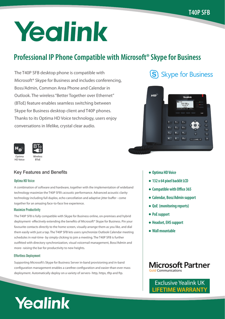 datasheet for the T40P Skype for Business phone