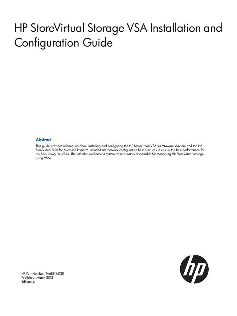 HP StoreVirtual Storage VSA Installation and Configuration Guide