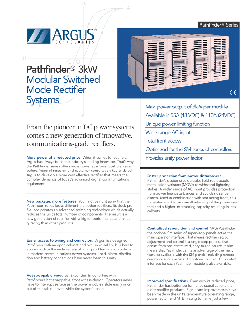 Pathfinder® 3kW Modular Switched Mode Rectifier Systems