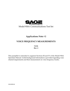 Voice Frequency Measurements on the 930A/935AT