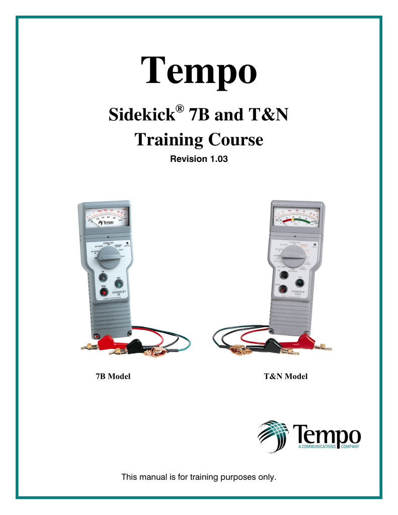 7b and tn training manual rh studylib net Tempo Sidekick eBay Tempo Sidekick TN User Manual