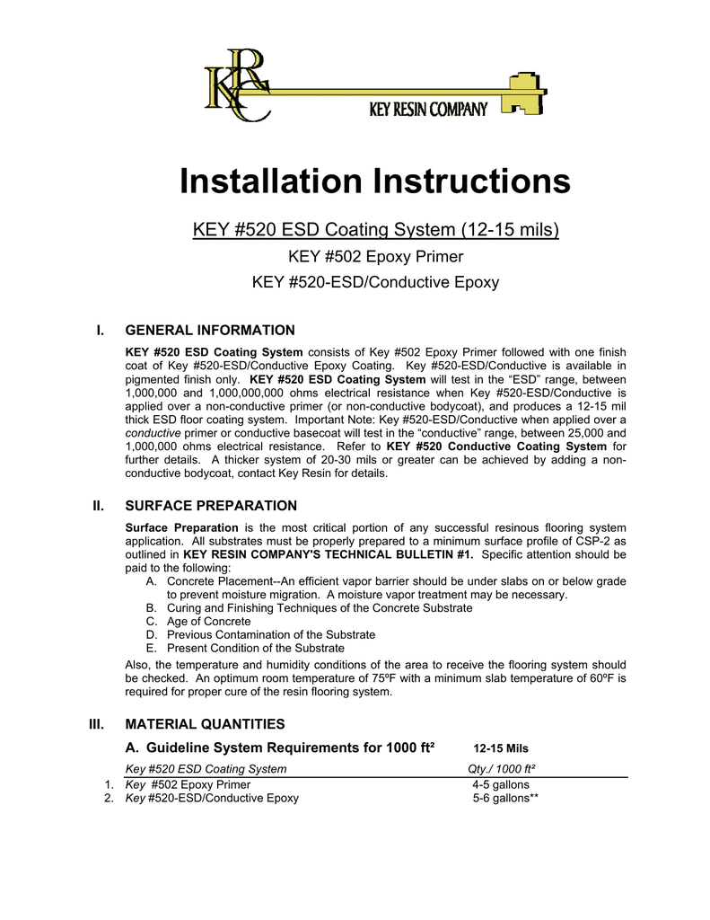 Installation Instructions, Key 520 ESD Coating - Systems