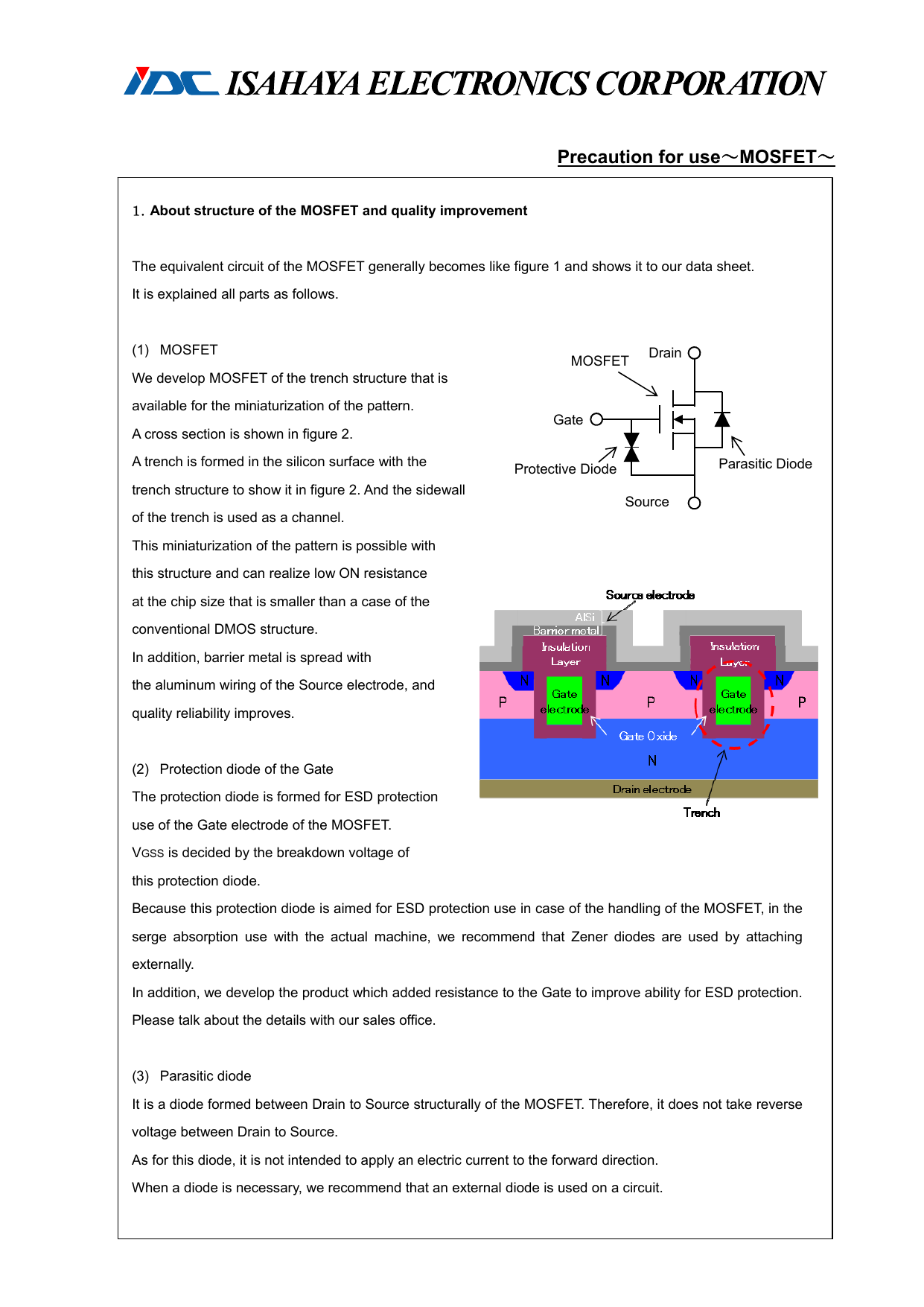 Precaution for use~MOSFET~