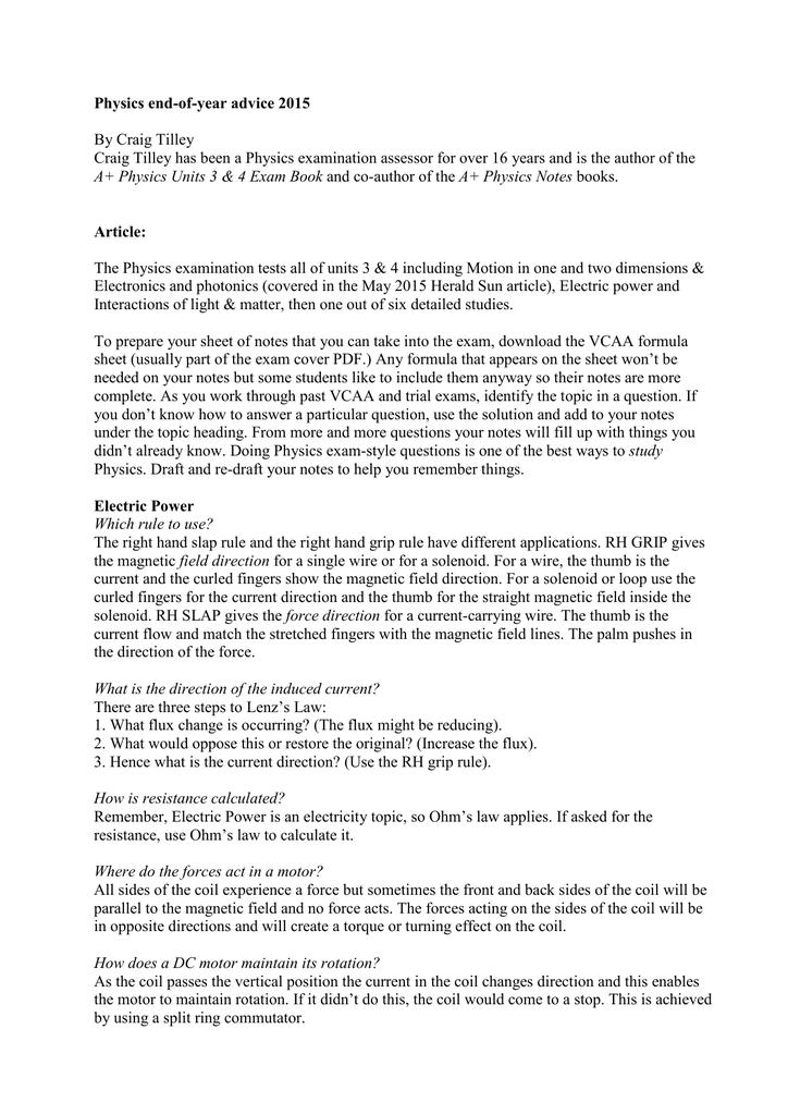 VCE Physics exam PDF