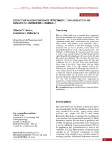 Effect of Handedness on Functional Organization of Bimanual